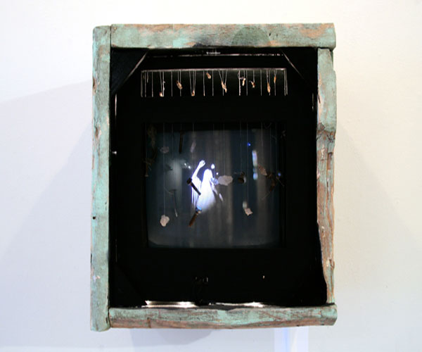"Marilla Abrahamsen, ""Ghost of Waltz"", 2010, mixed-media single channel video installation with found objects, 15Ωx15Ω"""