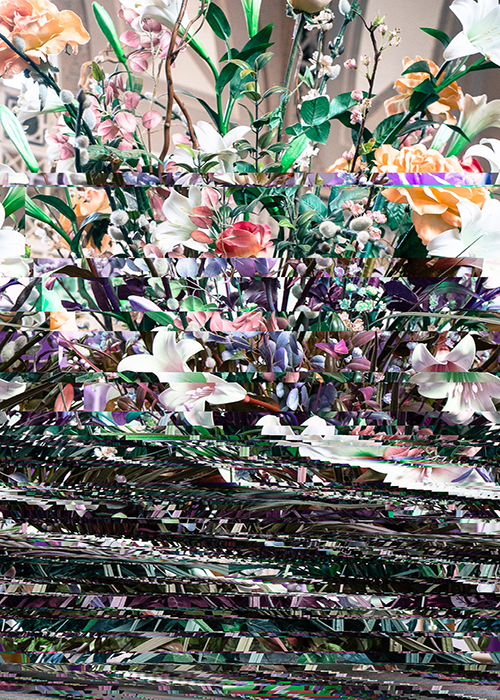 "Barry Stone, ""Bouquet DSCF3487_2, 2014"", Inkjet on Adhesive Backed textile, 54 x 36"". Courtesy of the artist and Klaus von Nichtssagend Gallery, New York."