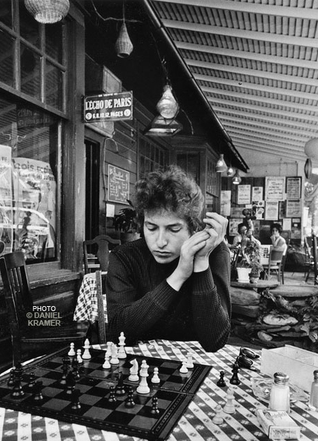 "Daniel Kramer, ""Bob Dylan/Playing Chess/Woodstock, NY, 1964""."