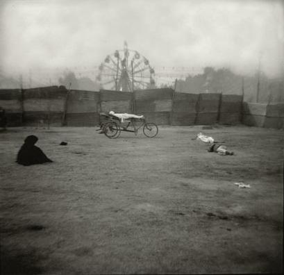 "Christopher James, ""Ferris Wheel and Corpse, New Delhi, India"", 1995, pigment on rag paper."