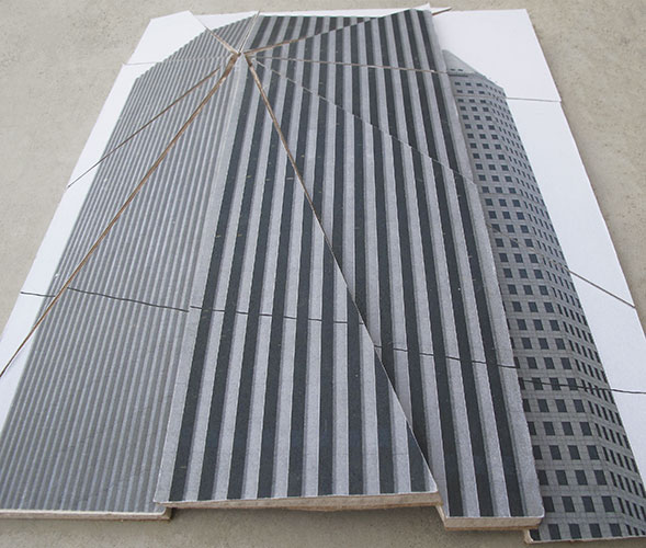 "Lourdes Correa-Carlo, ""No Title (KBR Tower and Continental Center in Houston, TX)"", 2011, archival inkjet prints and gypsum board, approximately 8' 5"" x 10'."