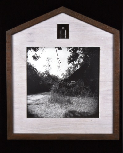 "Catherine Day, """"Family History: The Snake"", from ""Georgia Reliquaries"", 2003, gelatin silver print w/ mixed media & wood."