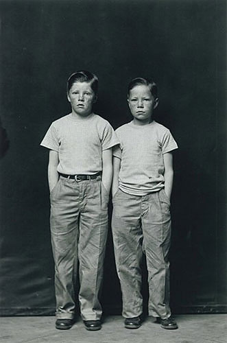 "Mike Disfarmer, ""Freckle Faced Boys"", 1939-1946, printed later, gelatin silver print,18x14"". Courtesy of Howard Greenberg Gallery, NYC."