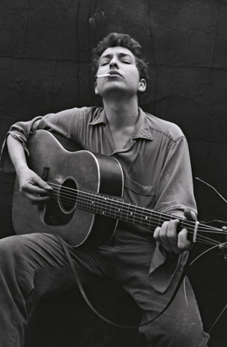 "John Cohen, ""Bob Dylan, NYC, 1962""."