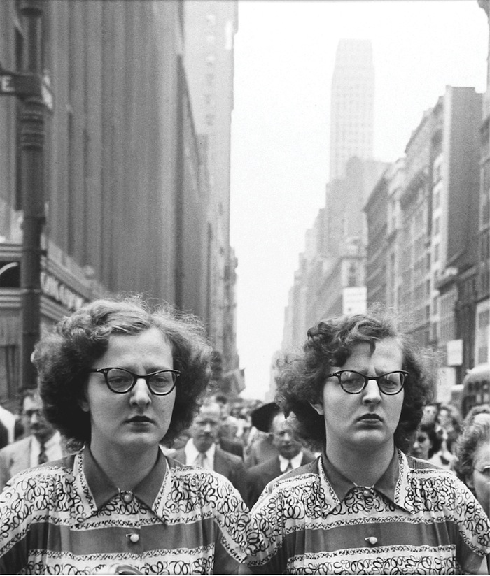 "Louis Faurer, ""Sisters"", New York, 1948, printed 1980, gelatin silver print, 14x11'. Courtesy of Howard Greenberg Gallery, NYC."