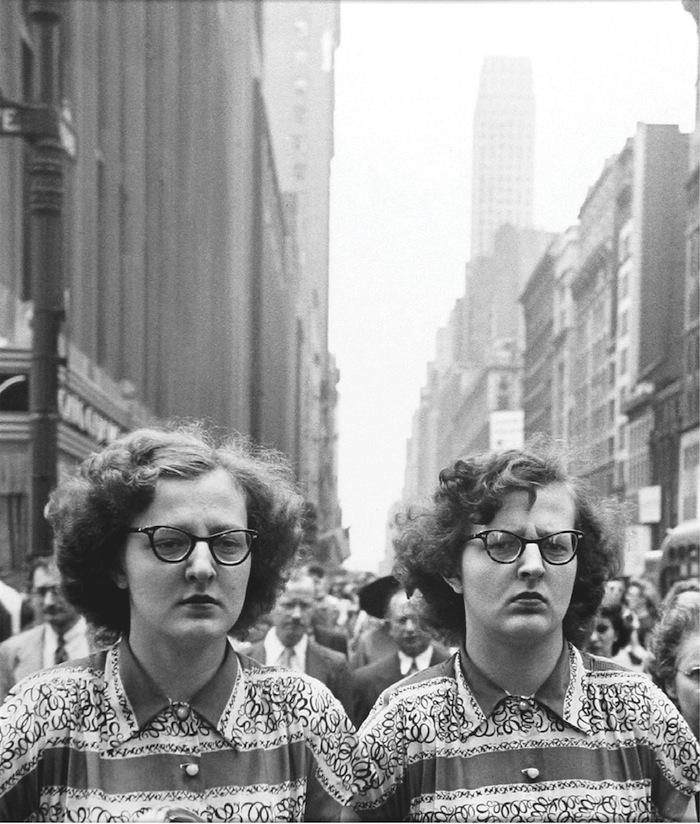 "Louis Faurer, ""Sisters"", New York, 1948, printed 1980, gelatin silver print, 14x11'. Courtesy of Howard Greenberg Gallery, NYC."