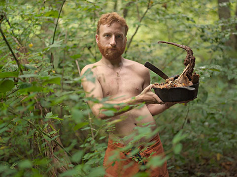 "Lucas Foglia, ""Accorn with Possum Stew, Wildroots Radical Homestead, North Carolina"", 2006, from the series ""THERE AND BACK AGAIN- Rewilding in the American Southeast"", C-Print, 30 x 40"", edition of 8"