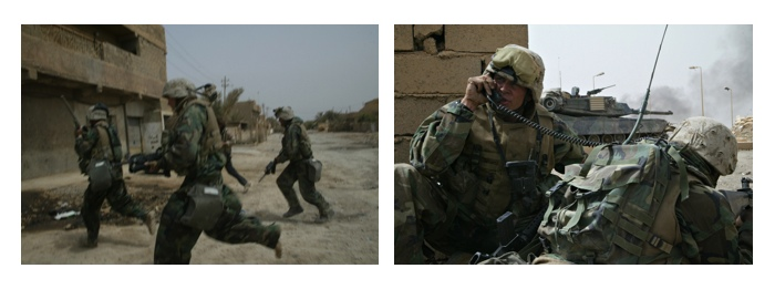 "Gary Knight, Images from ""The Bridge"", March 2003, a series of 57 digital images on DVD, dimensions variable. Gary Knight was a unilateral in Iraq. US Marines of the 3rd Battalion 4th Marines take Baghdad Highway Bridge outside Baghdad."