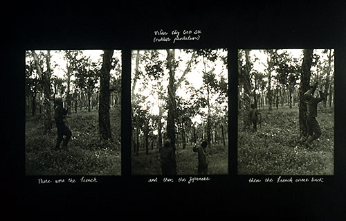 "Hong-An Truong, ""Vuon Coy Cao Su (Rubber Plantation)"", 2002 gelatin silver print with thread mounted on light box"