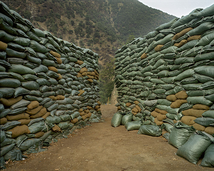 "Chad Hunt, ""Sandbags, Forward Operating Base Kamdesh, Afghanistan, 2006"", 2006, digital c-print."