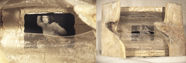 "Jennifer Calison, instillation photograph of ""Untitled #3"", 2000, digital photography and collage in a wooden box, 7x8""."