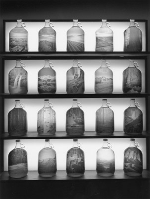 "Derek Johnston, ""Landscape Specimens"", installation of gelatin silver prints and glass bottles, 2003"