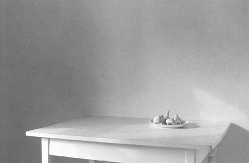 "Lilo Raymond, ""Garlic on Table"", 1983, Gelatin Silver print."