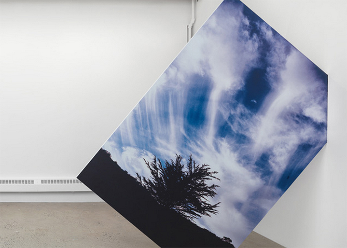 "Letha Wilson, ""Skyfall Wallbreak California"", 2014 ,uv print on dibond, wood, hole in wall, 96 x 96 x 7/8 inches"