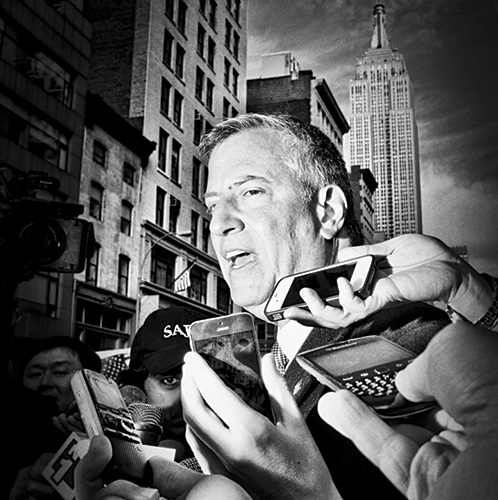 """Politics in Black and White #mayor #deblasio #nyc #empirestate"", 2013, Archival Pigment Print, 9 x 9"""