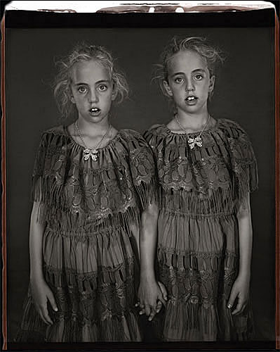 "Mary Ellen Mark, ""Heather and Kelsey Dietrick, 7 years old, Kelsey older by 66 minutes"", 2002, from the series ""Twins"", archival pigment print from 20x24"" Polaroid, 37x40"". Courtesy of Aperture Foundation, NYC"