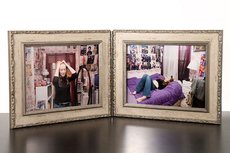 """Carlos Loret de Mola, """"Pictures of Emily in Her Room"""", 2004/2011, digital pigmented inkjet prints mounted to Dibond in hinged wooden frames"""