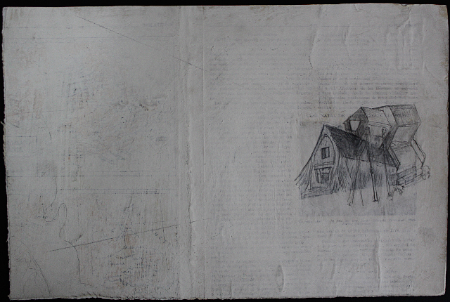 "Ricardo Morales-Hernandez, ""Above That Old House"", from the series ""Brève Histoire de L'Esprit Saint (The White Pages)"", 2010, reclaimed paper, encyclopedia, acrylic, graphite, 8½x13"""