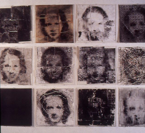 Untitled (Tiles) from the Narcissus series, 1996-1998, plexi tray with charcoal powder and images of maps