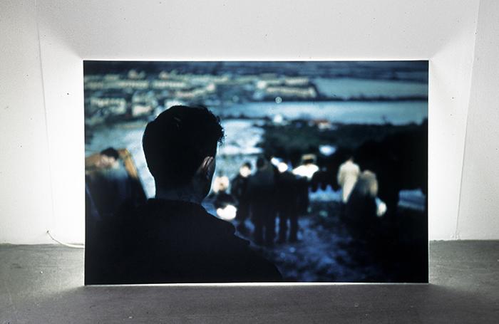 "Peter Hendrick, ""Self-Portrait"", 1999, Duratran print on plexi & fluorescent light, ed# 1/6"