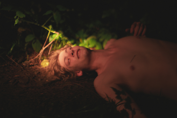 "Ryan McGinley, ""Jake (Golden)"", 2003, c-print,  30 x 40"" Courtesy Peter Hay Halpert Fine Art, NYC"