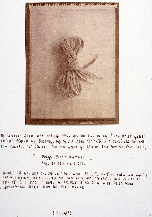 "Keisha Scarville, ""Shoelaces"", from ""I Grew Up"", 1999, Van Dyke Brown print."
