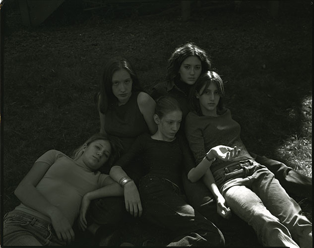 "Jock Sturges, ""Heather, Emily, Madeline, Rochelle, and Brittany"", Woodstock, NY, 2003, archival digital print, 11x14"""