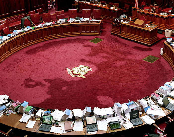 "Tim Davis, ""Connecticut Senate Floor"", from ""My Life in Politics"", 2002, C-print, 48x60"", Courtesy Greenberg Van Doren Gallery, NYC."