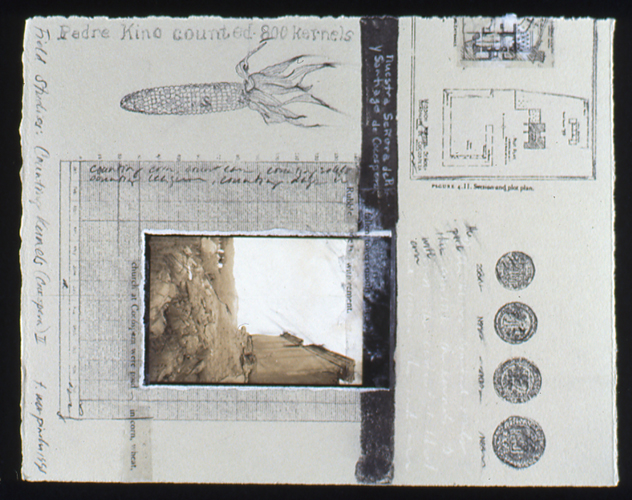 """Counting Kernels (Cocospera), 1998, mixed media collage, 9x7"""""""