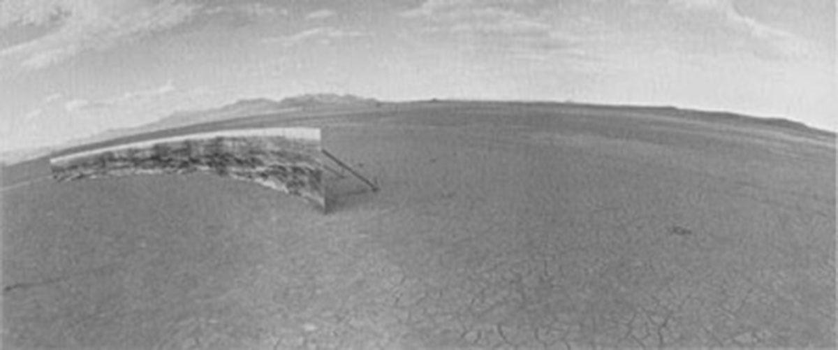 "A. Leo Nash, ""Shelley Hades Vaca's Mirrorage"", Burning Man, Black Rock Desert, Nevada, 1997, Iris print"