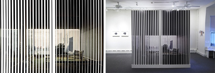 """Marisa Baumgartner, """"Visible City"""" (""""Obstructions II""""), 2005, unique site-specific wall vinyl installation created from an archival inkjet print on backlit film, 96x93"""". Installation view of the piece in CPW's gallery."""