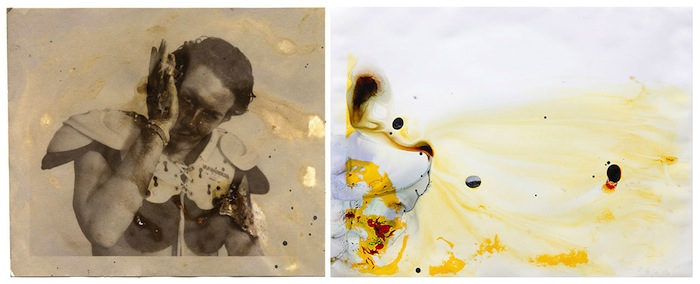 "(left) Matthew Brandt, ""Charles"", 2007, from the ""Portraits"" series, unique salted paper print with his mucus, 5 7/8 x 6 3/4"". Courtesy Yossi Milo Gallery, New York City. (right) Matthew Brandt, ""Loveland Reservoir"", CA 7, 2011, from the series ""Lakes and Reservoirs"", unique chromogenic print soaked in Loveland Reservoir water, 30x40"". Courtesy Yossi Milo Gallery, New York City."