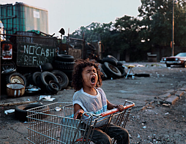 "Paul D'Amato, ""Girl in Shopping Cart, 1989"", 2006, C-print, 16x20"", courtesy Stephen Daiter Gallery, Chicago"