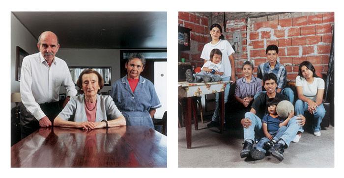 "Sebastian Friedman, Familia Pages Moschetti / Familia Valdes de Rios, Salta Provence, 2001, C-print, diptych, each image 10x8""."