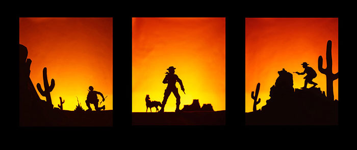 "Lawrence Getubig, ""Ambush"", from the ""I Want to Be Action Figure"" series, 2008, c-print, 24x60"" triptych."