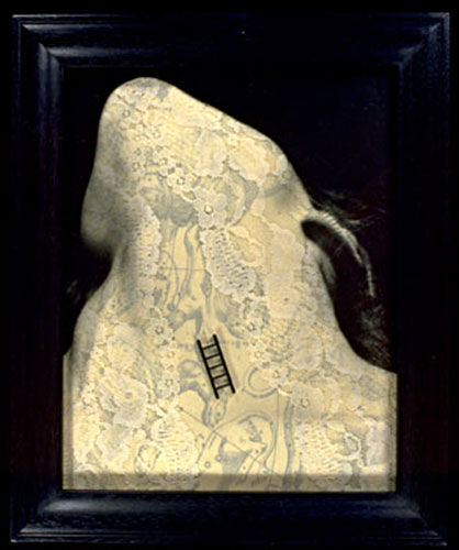 "Mary Daniel Hobson, ""Empire"", part of the series ""Mapping the Body"", 2001, Kodalith and mixed media collage,  5-1/8 x 6-1/4"""