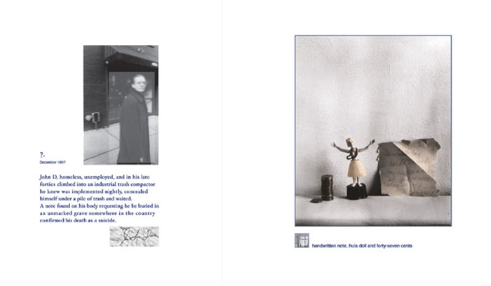 "Lauren Simonutti, a layout spread from ""Drowning Not Waving – 31 Attempts at a Justification for Suicide"", 2003"