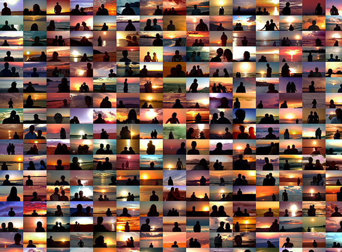 "Penelope Umbrico, ""Sunset Portraits from Sunset Pictures on Flicker"", 2010-ongoing, Site-specific, dimensions vary (968 digital c-prints at CPW)"