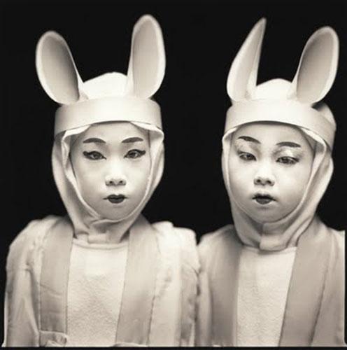 "Hiroshi Watanabe, ""Marina Ema & Kazusa Ito, Matsuo Kabuki"", 2003, from the series ""Kabuki Players"", silver gelatin print, 16x20"". Courtesy of Catherine Edelman Gallery, Chicago."